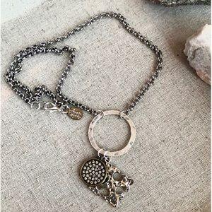 Silver charm necklace w/ fleur de Lis cross & pave